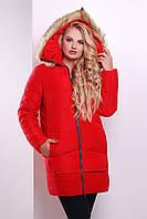 Куртка пальто зимнее женское красное 48,50, 52
