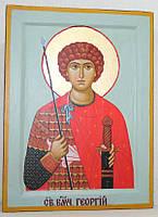 Икона греческая Георгий Победоносец писаная