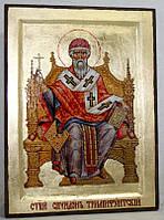Икона греческая Спиридон Тримифунтский (на троне) золото
