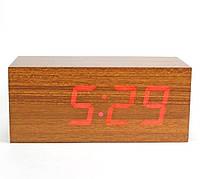 Часы настольные декоративные с красной подсветкой в виде деревянного бруска VST-863-1