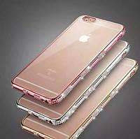 Силиконовый чехол для iPhone 6 Plus/6S Plus бампер со стразами, фото 1