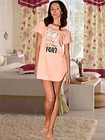 Ночная сорочка с коротким рукавом (Персиковый)