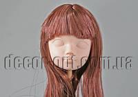 Голова куклы 4,5 см с каштановыми волосами с челкой  25см