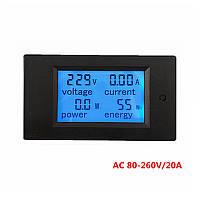Измеритель параметров тока, ваттметр, вольтметр AC 220В, 20А