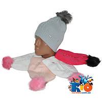 Детская шапочка арт.0038 , вязка (на флисе) , для девочек (р-р 50-52)