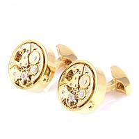 Запонки Bow Tie House элитные с механизмом часов золотистые 08529
