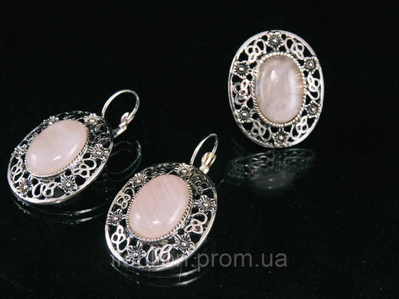 Набор из  розового кварца в металле, кольцо и серьги
