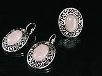 Набор из  розового кварца в металле, кольцо и серьги, фото 1