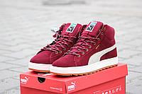 Зимние мужские кроссовки в стиле Puma Suede Mid бордовые замша мех, фото 1