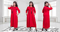 Прямое однотонное макси платье размеры 50-56