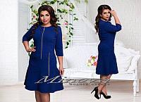 Прямое платье с молниями и рукавом 3/4 размеры 50-56