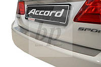 Защитная хром накладка на задний бампер (планка без загиба) Honda Accord 9 (хонда аккорд 2013+)