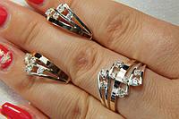Комплект женских серебряных украшений с золотыми пластинами
