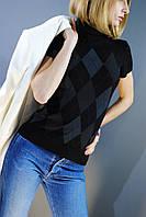 Свитер женский чёрный с серым