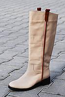 Женские кожаные сапоги,на евро-меху