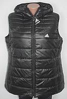 Женская спортивная жилетка безрукавка в стиле ADIDAS батал черная
