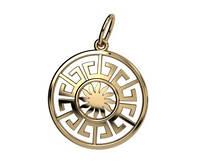 Солнечная круглая золотая подвеска 585* пробы