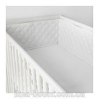 """IKEA """"ХИММЕЛЬСК"""" Мягкий бортик для детской кроватки, белый, серый"""