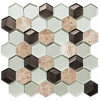 Мозаика мрамор стекло Vivacer SB06