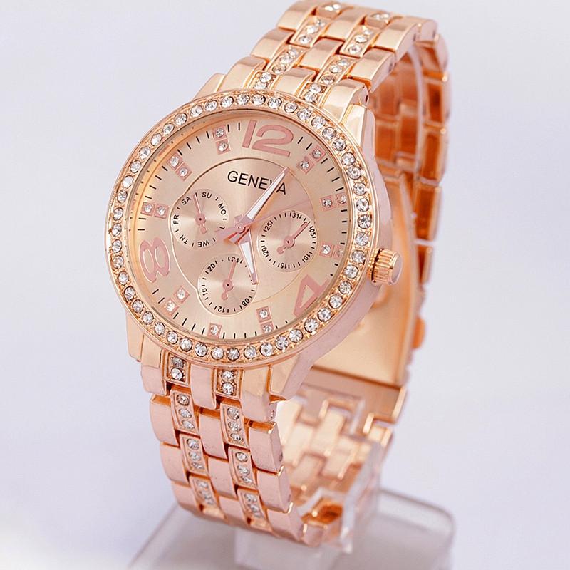 b8915fe179bc Женские наручные часы GENEVA Swarovski розовое золото - Интернет-магазин  Vinegret shop в Херсоне