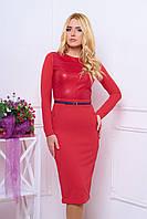 Трикотажное красное платье с поясом и карманами  Шайни  44-50 размеры