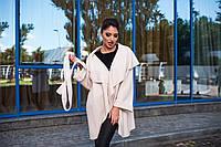 Стильное женское пальто-накидка с отложным воротником, материал шерсть букле, цвет молочный