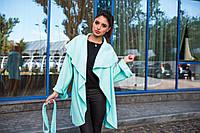 Стильное женское пальто-накидка с отложным воротником, материал шерсть букле, цвет мята