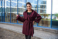 Стильное женское пальто-накидка с отложным воротником, материал шерсть букле, цвет марсала