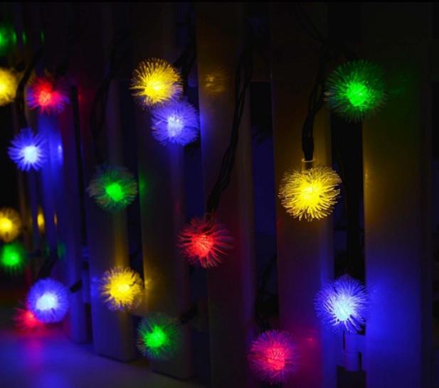 Гирлянда на солнечной батарее Праздничные огни RGB 7м 50LED