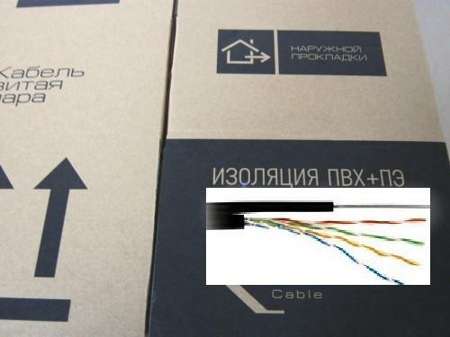 Кабель витая пара не экранированный UTP CAT5E (4х2x0.51,CCA,305м) ВНЕШНИЙ, С ТРОСОМ