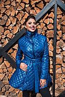 Теплое женское стеганное пальто, синтепон 150, с расклешенным низом, цвет электрик