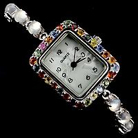 Лунный камень и сапфиры, серебро 925, браслет часы