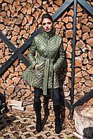 Теплое женское стеганное пальто, синтепон 150, с расклешенным низом, цвет оливковый