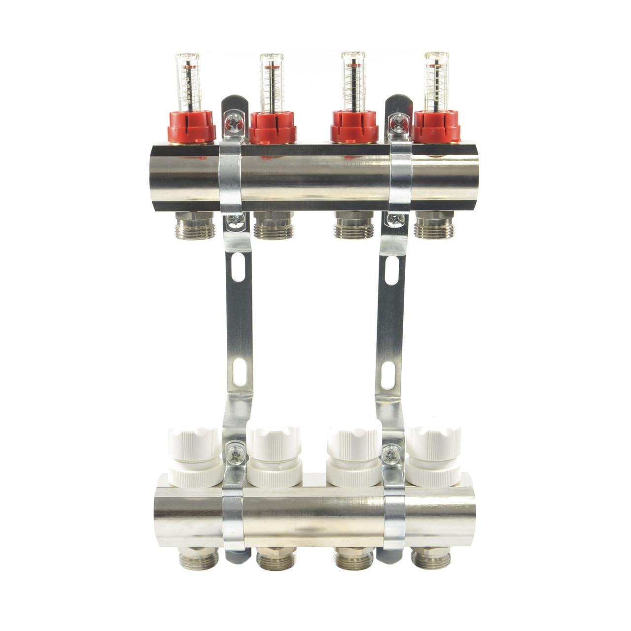 Коллектор SD PLUS 1x3/4x12 двойной с расходомерами и креплениями