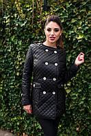 Теплое женское стеганное пальто, синтепон 150, с карманами на пуговицах, черное