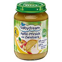Babydream Bio Apfel-Pfirsich mit Zwieback - Фруктовое пюре Яблоко-персик с сухариками, с 4 месяца, 190 г