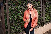 Стильная женская стеганная куртка с отложным воротником на кнопках, оранжевая