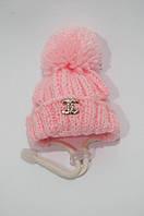 Зимняя шапка с бубоном VipDoggy размер M розовая