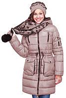 Красивая зимняя куртка с шарфом на девочку