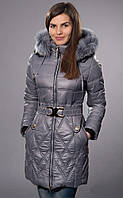 Однотонное сераое пальто теплое на зиму