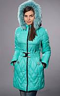 Зимнее пальто с натуральной песцовой опушкой