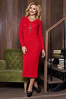 Эффектное красное женское платье из ангоры Анита 44-50 размеры