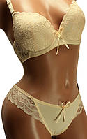 Комплект женский нижнего белья: бюстгальтер чашка В классика и трусики стринги. Розница, опт., фото 1