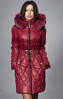Зимнее пальто со съемным капюшоном и мехом