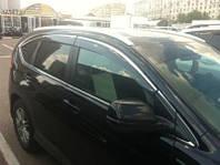 Дефлекторы окон (ветровики) с хром полосой (кантом-молдингом) Honda CR-V IV (хонда срв 4 2012+)