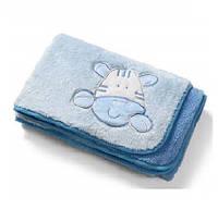 Двустороннее плюшевое одеяло из микрофибры (Голубой) 75х100см, BabyOno