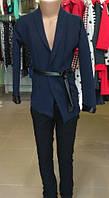 Пиджак  темно синий на девочку модельный с кожаным ремешком S