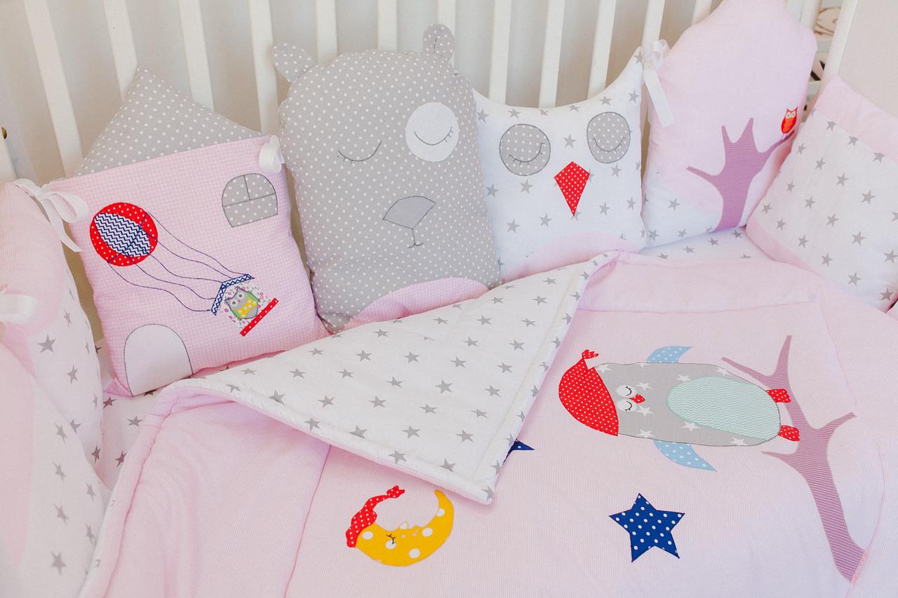 """Стильный и нежный постельный комплект для новорожденного """"Веселые Совушки"""" ТМ Куписон  (hand made)"""