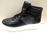 Модные сникерсы экокожа синие, черные KF0398