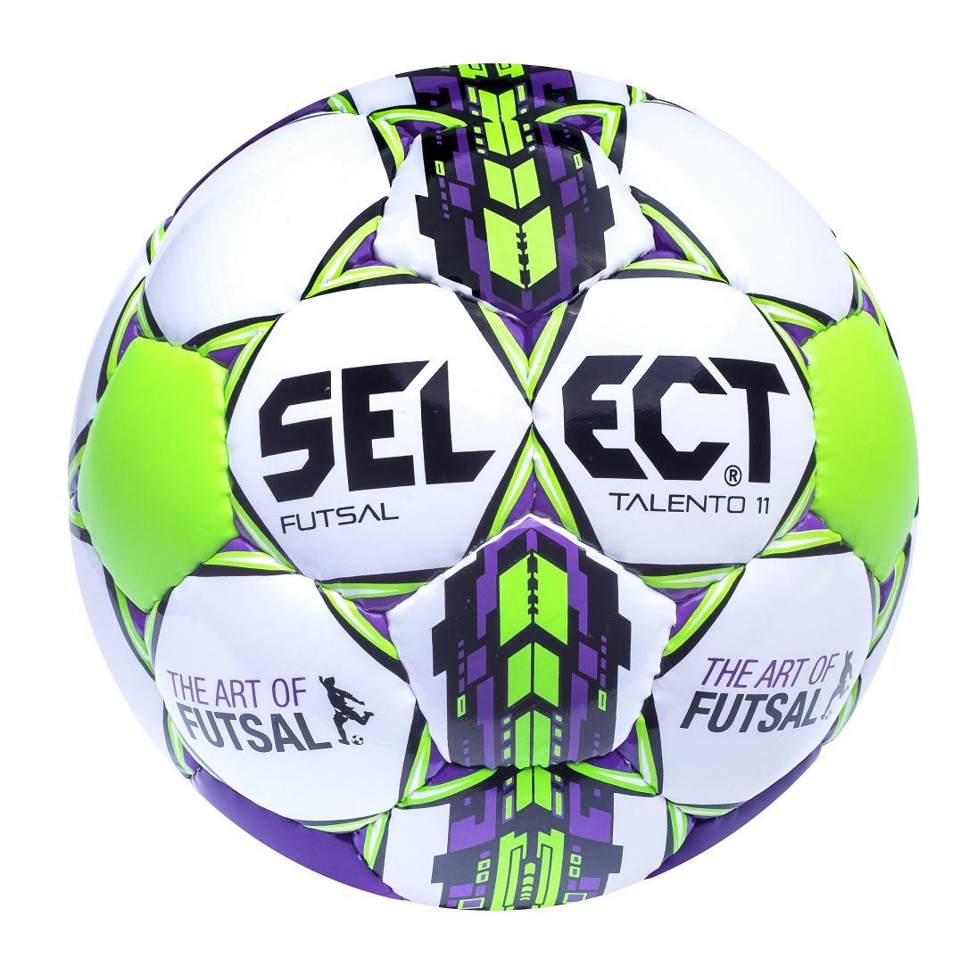 Мяч футзальный Select Futsal Talento 11, бело-зелено-фиолетовый, р. 2, ламинированный
